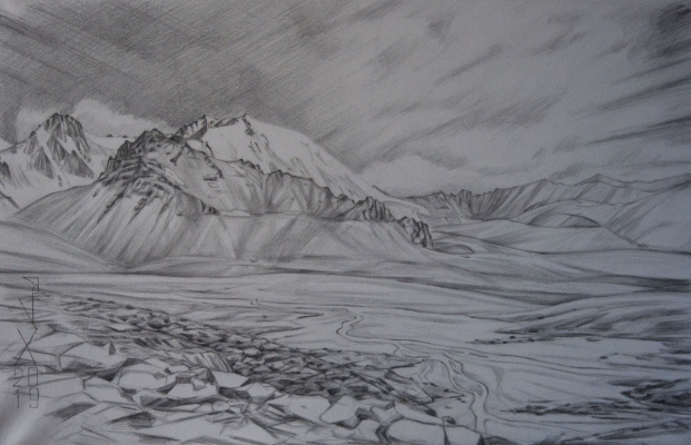 Alexander Hardin. Tuyuksu glacier moraine