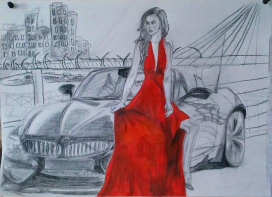 Julia Alekseevna Ovcharenko. BMW and Mrs. in a red dress