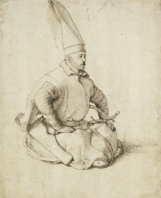 Gentile Bellini. Sitting janissary. Portrait of a Turkish man