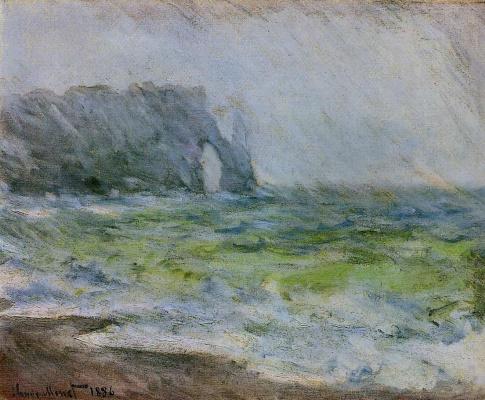 Claude Monet. Manneport, Etretat. Rain