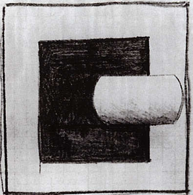 Kazimir Malevich. Black square and white tubular form