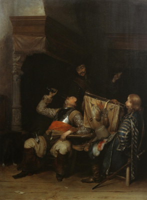 Gerard Terborch (ter Borch). Drinking and playing soldiers in the interior