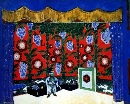 """Alexandre Benois. Room Moor. Design for """"Petrushka"""" by I. Stravinsky"""