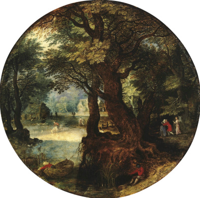 Jan Brueghel the Younger. Landscape. Farewell Tobias with his mother