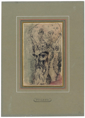 Pablo Picasso. Old man's head in tiara