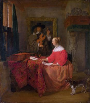 Габриель Метсю. Женщина, сидящая за столом и мужчина, настраивающий скрипку
