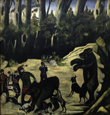 Нико Пиросмани (Пиросманашвили). Охота на медведей