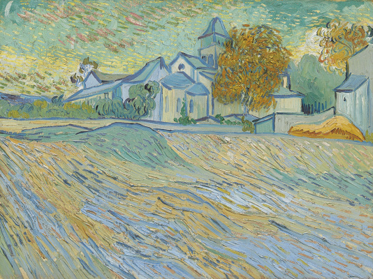 "Vincent van Gogh. ""View of the Asylum and Chapel at Saint-Remy"