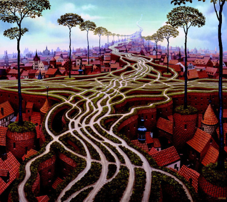 Jacek Yerka. Messed up roads