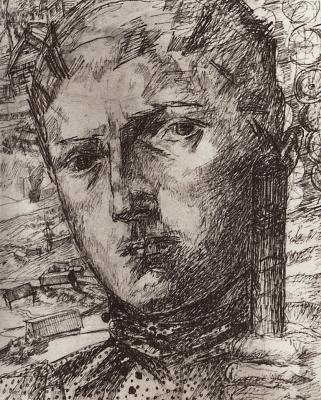 Кузьма Сергеевич Петров-Водкин. Голова юноши на фоне деревенского пейзажа