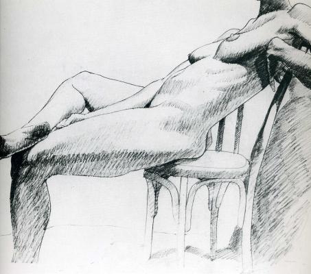 Филипп Перельштейн. Обнаженная девушка на стуле
