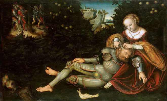 Lucas the Younger Cranach. Delilah cuts off Samson's hair
