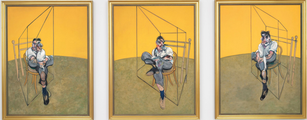 Francis Bacon. Three sketches for a portrait by Lucian Freud. Triptych