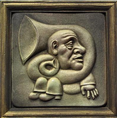 "Александр Иванович Зименко. ""Трубо-дур"" рельеф,керамика 15х15см"