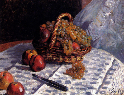 Alfred Sisley. Still life with apples and grapes