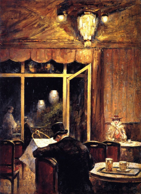 "Lesser Ury. Evening in the ""cafe Bauer"""