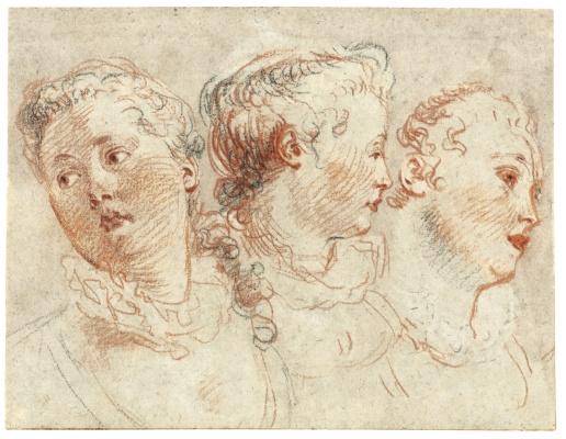 Antoine Watteau. THREE STUDIES OF THE HEAD OF A WOMAN