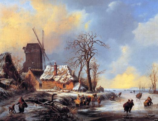 Альберт Моерман. Снежный пейзаж