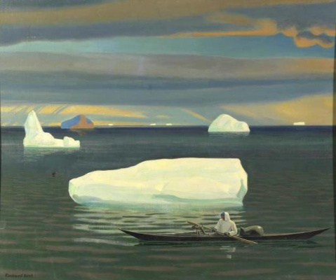 Rockwell Kent. The eskimo in the kayak. Greenland