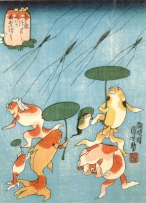 Утагава Куниёси. Японские сказки о рыбах: внезапный ливень из водомерок