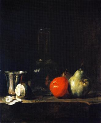 Жан Батист Симеон Шарден. Натюрморт с бутылкой, кубком, очищенным лимоном и грушей