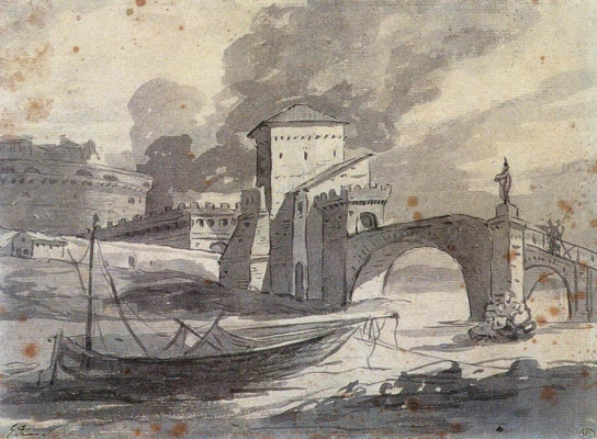 Jacques-Louis David. View of the Tiber and Castel Sant'angelo