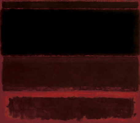 Rothko Mark. Four dark markings on the red