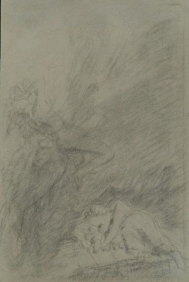 """Nikolai Nikolaevich Ge. A woman with two children and falling angel. Sketch illustration for the story """"What men live by"""""""