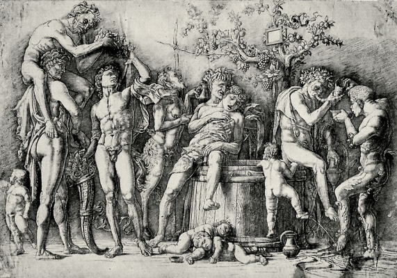 Andrea Mantegna. Bacchanal with a wine press