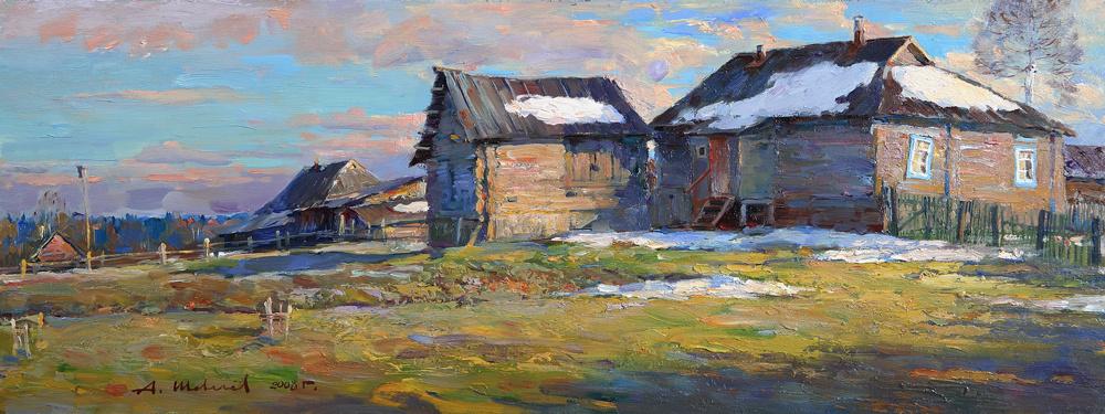 Alexander Victorovich Shevelyov. The evening sun in Golocalise. hardboard,oil of 23.8 # 63 cm 2008