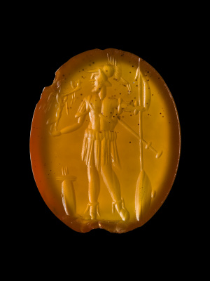 Engraved gem. Mars, god of war, holds Victoria godess of victory, in his hand