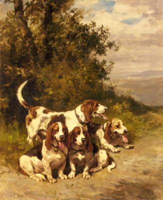 Чарльз Оливье де Пенне. Охотничьи собаки на лесной тропе