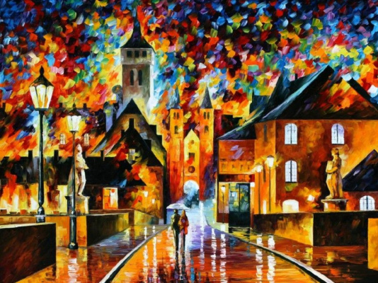 Leonid Afremov. Night in the old town