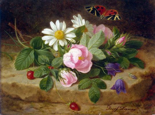 Иозеф Лаунер. Букет цветов с бабочкой