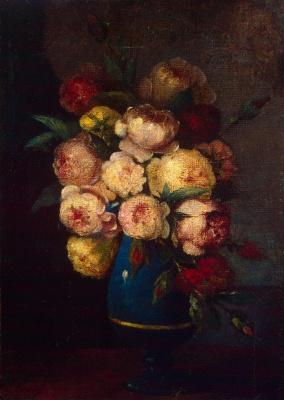 Henri Fantin-Latour. Peonies in a vase