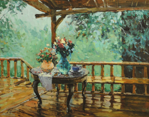 Sergey Vasilyevich Gerasimov. Terrace and flowers on the table
