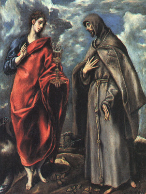 Domenico Theotokopoulos (El Greco). Saint John the Evangelist and St. Francis of Assisi