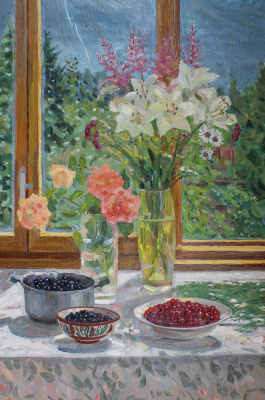 Eugene Alexandrovich Kazantsev. Still life of flowers and currants.