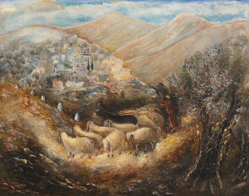 Reuven Rubin. The road to Galilee (Tzfat)