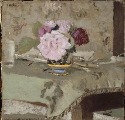 Jean Edouard Vuillard. Still life with a bouquet of roses