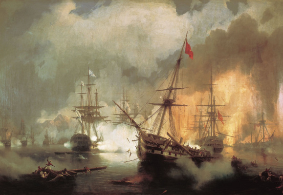 Ivan Aivazovsky. Sea battle at Navarino on October 2, 1827