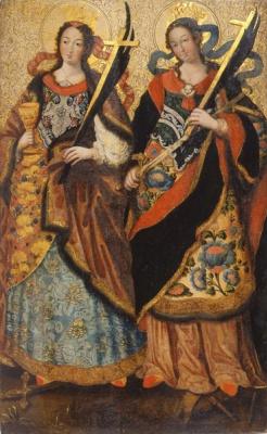 Ukrainian Icon. Barbara and Catherine