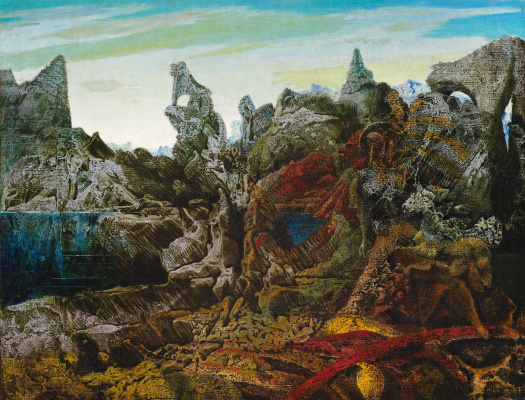 Max Ernst. Landscape with a view of the lake and chimeras