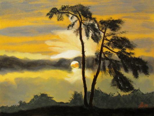 Арташес Владимирович Бадалян. Evening landscape - map.-m - 30x40