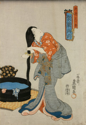 Utagawa Kunisada. Case, the wife of Watanabe, combs her hair