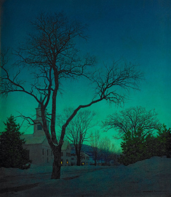 Maxfield Parrish. Outgoing winter day (Evening landscape)