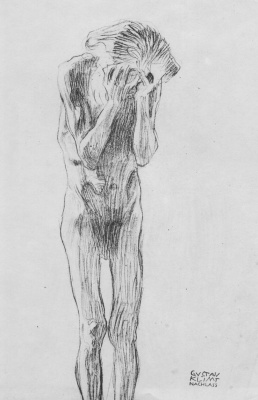 "Gustav Klimt. Standing Nude man (sketch for ""Philosophy"")"