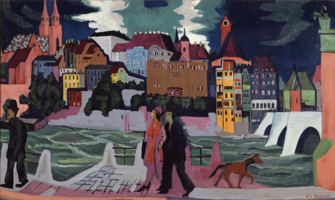 Ernst Ludwig Kirchner. View of Basel and the Rhine