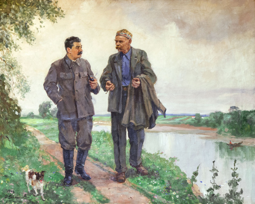 Alexander Mikhailovich Gerasimov. JVStalin and AMGorky for a walk. 1948