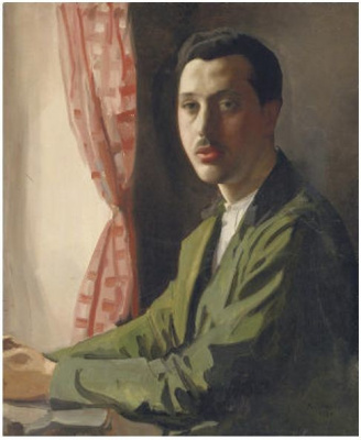 Portrait of a young man with a mustache